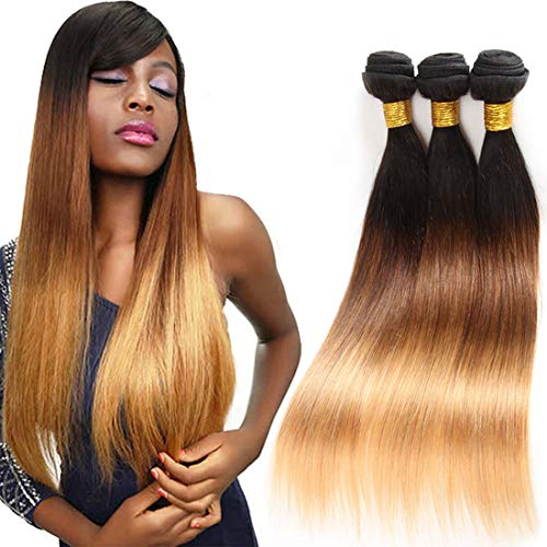 - Ombre Brazilian Hair Straight 3 Tone Ombre Bundles Human Hair, Ombre Straight 3 Bundles Ombre Bundles Remy Hair Straight Hair Bundles (T1B/4/27,16