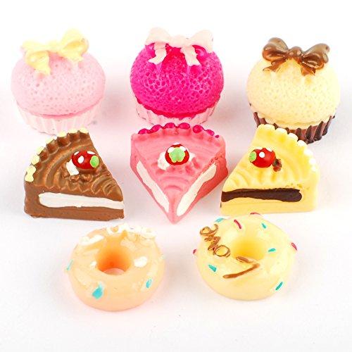 NW 8pcs 1/12 Mini Cake Dollhouse Decoration Play Food Set Kitchen Food Cake Donuts for Dollhouse Kitchen Decoration