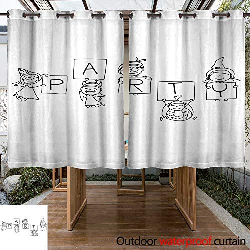 RenteriaDecor Outdoor Curtains for Patio Sheer Hand Drawing Abstract Cartoon Halloween W63 x L72 -