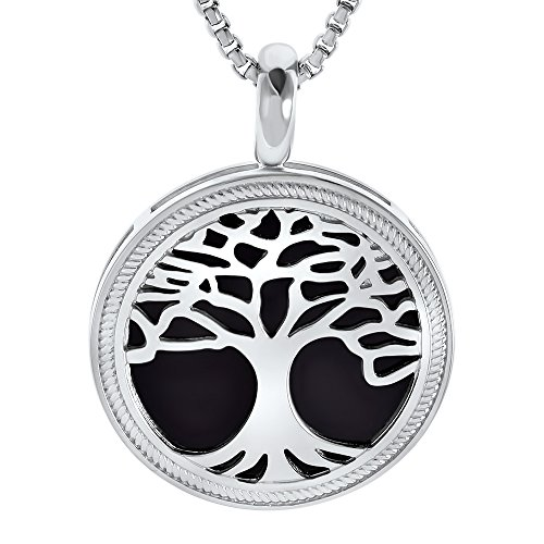 Amorucci Rhodium Plated with Ceramic Insert Round Pendant Tree Of Life Lunetta Sterling Silver Pendant with Chain, Fine Jewelry for Women - Rhodium Plated Round Pendant