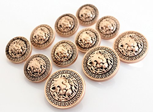 Antique Gold Button (YCEE 11 Pieces Gold Vintage Antique Metal Blazer Button Set (weighty) - 3D Lion Head - For Blazer, Suits, Sport Coat, Uniform, Jacket)