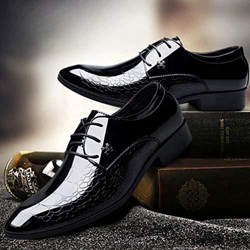 De Zapatos Oxfords Leathe Hombres Vestir Negro Patentes Oficina Zapatos De Zapatos ABIUUqw