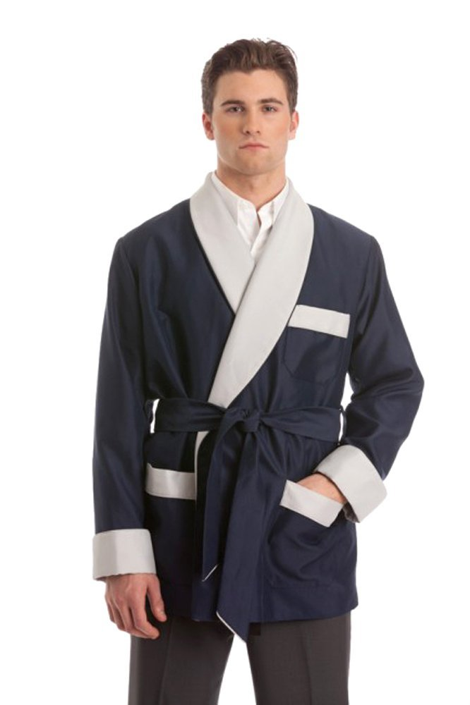 Duke & Digham Men's Satin Smoking Jacket (Large, Navy) by Duke & Digham