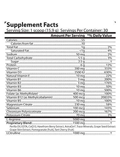 L Arginine 5000mg - L Citrulline 1000mg Combo - Mixed Berry Flavor - 16.82 Ounce Powder - COQ10 100mg - Plus More Heart Health Ingredients