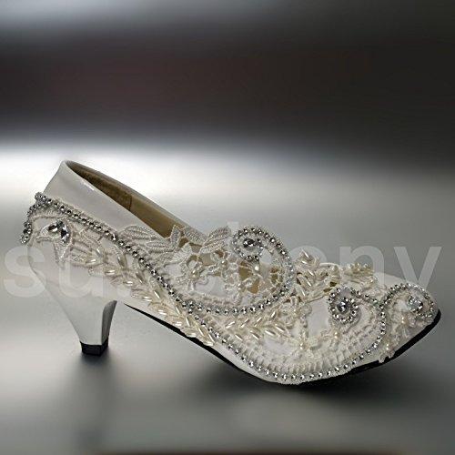 """JINGXINSTORE 5 cm/2"""" bajo el talón encajes de Cristal blanco bombas nupcial zapatos de boda nos tamaño 5-12,blanco,US 8"""