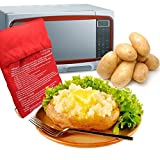Express Microwave Potato Cooker - Perfect oven baked potatoes in just 4 minutes - Works on any type of potatoes - Holds up to 4 large potatoes - Reusable and machine washable - Red (2 Bags)