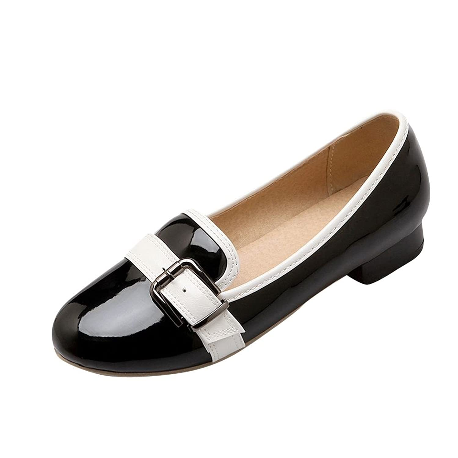 Carolbar Women's Buckle Patent Leather Fashion Comfort Low Heel Loafers Shoes