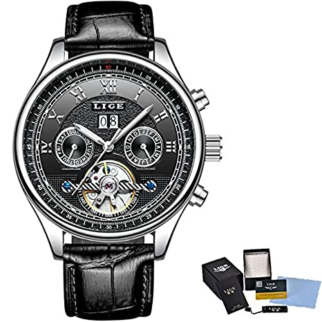 Amazon.com: Luxury Brand LIGE Fashion Business Automatic Machinery Watches Men Full Steel Waterproof Watch Man Clock relogio Masculino 30 (Silver Black): ...
