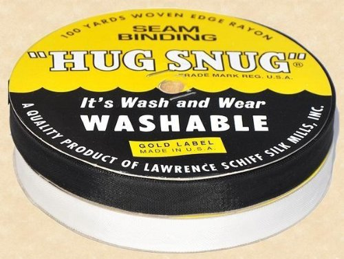 "Hug Snug Seam Binding 100-yds Roll ½"" Wide Hug Snug ~ White ~ 100 Percentage Woven-edge Rayon ~ Wash 'N Wear ~ Made in USA-1 Roll PURE (Wash 100 Rayon)"