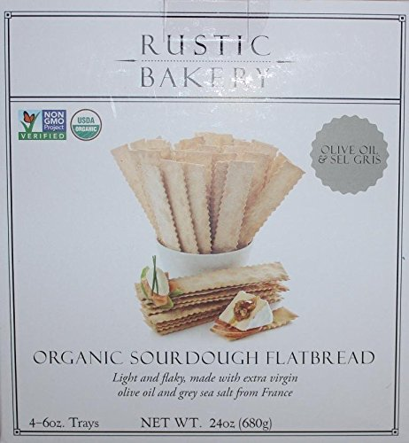 Rustic Bakery Organic Sourdough Flatbread - Olive Oil & Sel Gris (Grey Sea Salt From France) - 4-6 oz trays for a Total of 24 oz. by Rustic Bakery