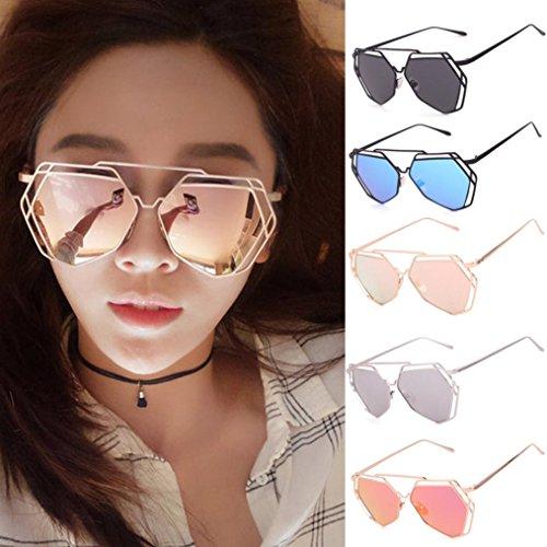 Frame Eyeglass Alloy (WensLTD Clearance! Twin-Beams Geometry Design Women Metal Frame Mirror Sunglasses Cat Eye Glasses (Silver))