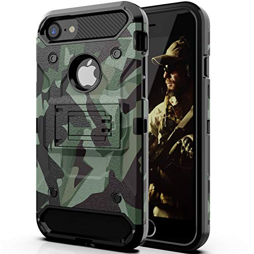 Halwen iPhone 8 Case/iPhone 7 Case/iPhone 6 Case, Man Armor Soldier Kickstand Military Case Three Layer Protective Shockproof Cover for Apple iPhone 6/7/8 Case - Case Camouflage