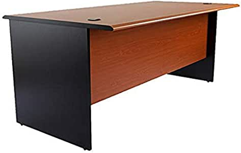 Mahmayi Bess Plain Solid Wood Office Desk with Two Grommets Cable Management (180cm, Cherry Black)