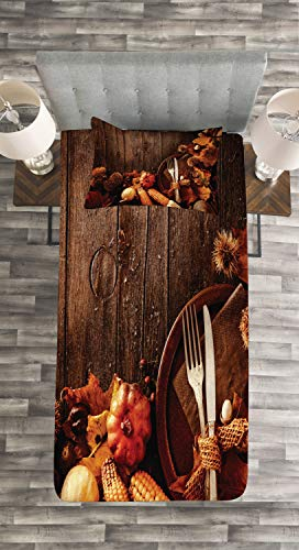 Lunarable Thanksgiving Bedspread, Special Dinner Preparations Cottage Theme Plate Cutlery Foliage Wood Planks, Decorative Quilted 2 Piece Coverlet Set with Pillow Sham, Twin Size, Brown Orange