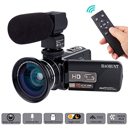 Camcorder Digital Video Camera HD 1080P 30fps 3.0 INCH Touch Screen 24MP Camcorder with Microphone and Wide Angle Lens Vlogging Camera with Remote Control Infrared Night Vision Recorder