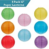 """Round Paper Lantern Lamps ALL-IN-ONE Bundle: 8 Pack Colored 12"""" Inch Round Multi-Color Paper Lanterns   16-Pack Warm Bright LED Lights w/ Batteries   BONUS 30 Yards Clear String Pack"""