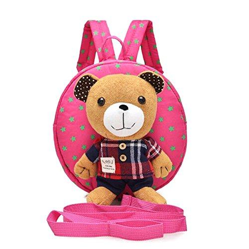 M2cbridge Cute Bear Toddler Anti-lost Backpack Small School Shoulder Bag Safety Harness (Pink bear A) (Teddy Bear Harness)