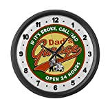 CafePress – Dad's Garage – Large 17″ Round Wall Clock, Unique Decorative Clock For Sale