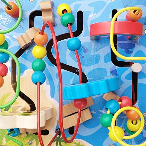 Under The Sea Adventures, Deluxe Activity Wooden Maze Cube - Perfect for Kids Play, Musical Activity, and Toddlers Early Developmental Skills by Pidoko Kids (Image #3)