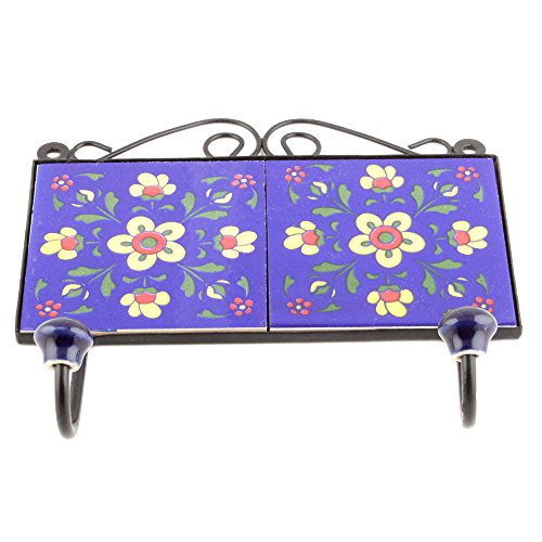 - Indianshelf Handmade 1 Artistic Vintage Tile Blue Ceramic Floral Clothes Hooks Hangers/Key Hooks for Purse