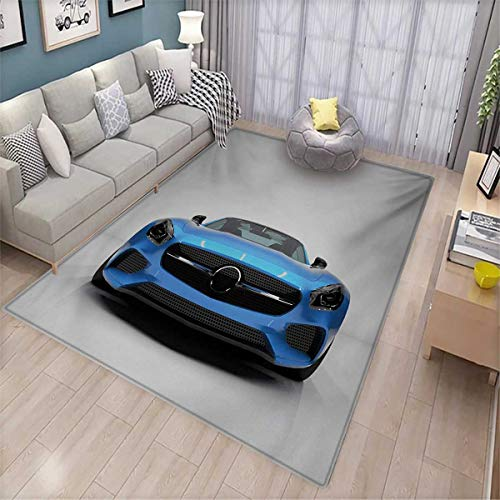 (Teen Room Area Rugs for Bedroom Modern Blue Sports Car Power Prestige Speed Fast Vehicle Automobile Image Door Mats for Inside 6'x9' Blue Black Grey)