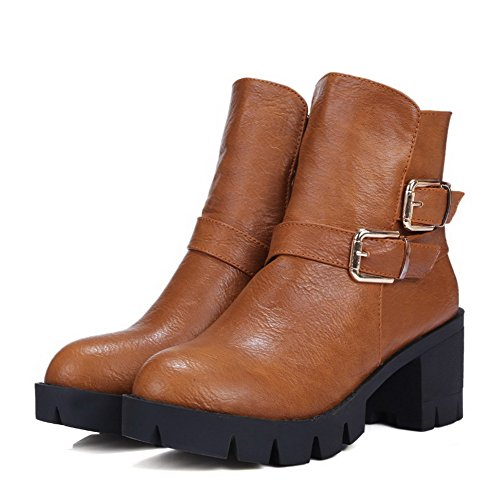 Low top Toe Zipper PU Boots Heels Closed Women's Kitten AgooLar Round Brown Zzq8174