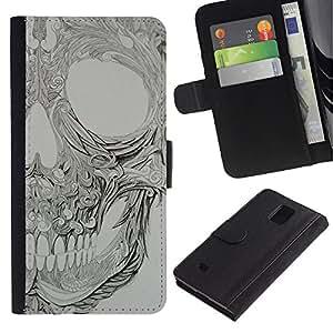 iBinBang / Flip Funda de Cuero Case Cover - Patrón floral gris Metal Rock - Samsung Galaxy Note 4 SM-N910