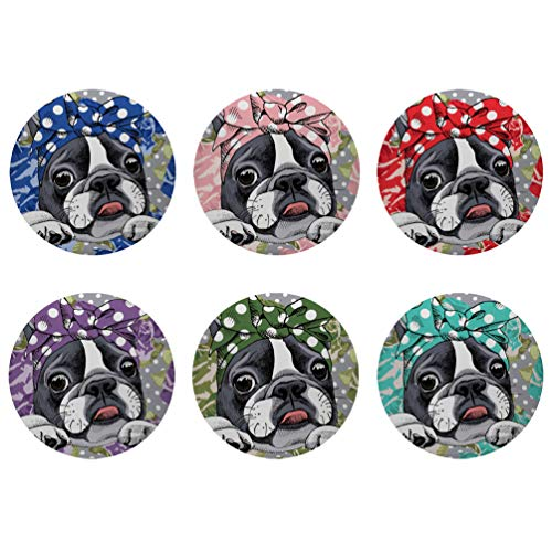 Polka Dot Party Coasters - HUGS IDEA Boston Terrier Polka Dot Printed Coasters Save Furniture Home Decor Cup Mats Water Absorption Coaster for Living Room