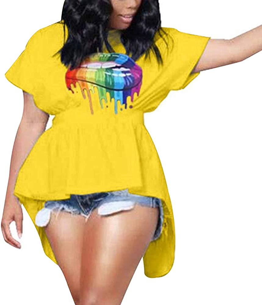 AMEOY Women Fashion Short Sleeves Colorful Lip Print Open Back Bandage Lady Irregular T-Shirt Top for Summer