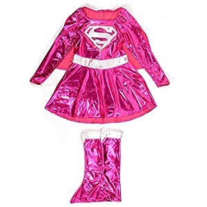 - 514lHb3VxBL - Flamingo Bonut Supergirl Costume Deluxe Superhero Girls Costume Wonder Woman Supergirl Roleplay DC Superheros Fancy Dress Party Halloween Costumes for Kids (s-2)