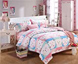 California King Versus King Size Bed CocoQueen Colorful Cute Cat 3pc Duvet Cover Set for Baby Girl Cotton with Microfiber Pink White Twin Size
