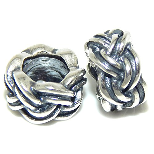 PJEWELRY 925 Solid Sterling Silver Two-Piece Braided Rope Spacers Charm Bead