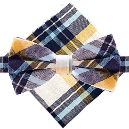 (Man of Men - Bowtie & Pocket Square - Yellow & Blue Plaid)