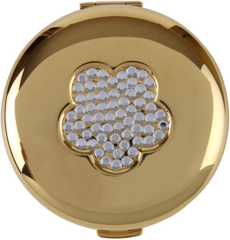 Espejo compacto chapado en oro con diseño de flores de cristal. Espejo dual. En caja de regalo con bolsa de cuero