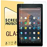TOPBIN All New HD 10 Tablet Tempered Glass Screen Protector (7th Generation,2017 Release), [Anti-Scratch] [Anti-Fingerprint] [Bubble Free] for HD 10 Tablet (7th 2017 Release) (Clear)