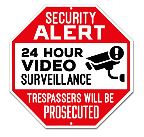 Zazzy Signs Outdoor Video Surveillance Sign - CCTV Security Alert - 24 Hour Surveillance - Large 12 X 12 Octagon Rust Free 0.40 Aluminum Sign (Red)