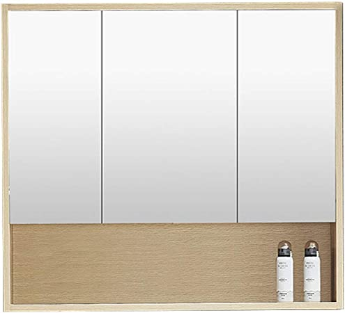 Gxfc Solid Wood Bathroom Cabinet With Mirror Sink Vanity Wall Cabinet With Open Shelves Modern Medicine Cabinet Storage Cupboard Double Three Doors Hollow Back Panel Amazon Co Uk Kitchen Home