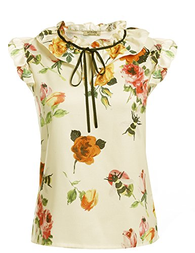 [ACEVOG Women Casual V-Neck Sleeveless Printed Top Blouse with Ruffle Armholes and Lace-up Collar, White, Large] (Floral Ruffle Top)