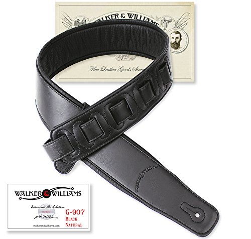 Walker & Williams G-907 Black Leather Guitar Strap with Padd