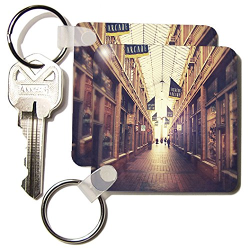 Perkins Designs Cities And Structures - On The Mall - stylized photograph of shopping arcade located in Ann Arbor, Michigan - Key Chains - set of 2 Key Chains - Michigan In City Malls