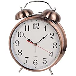 9.3-inches Classic Vintage Style Metal Dual Bell Ring Design Alarm Clock Desk Table Clock (Brass A00193-1)