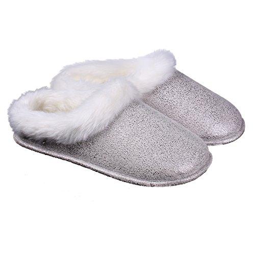 Ofoot Dames Namaakbont Suède Memory Foam Comfortabele Slip Op Winter Slippers Met Bling Bling Beige