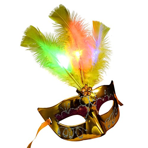Women Venetian LED Mask,Princess Feather Masks for Masquerade Fancy Dress Party,Decorations Cosplay Mask (Yellow) ()