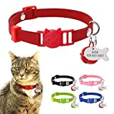 """Didog Kitten Cat Breakaway Collars Fish Shaped ID Tags Bells,Suede Leather Cat Collar Charms,8-11.5"""" Adjustable,Red"""