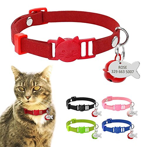 Kitten Cat Breakaway Collars with Fish Shaped ID tags and Bells,Suede Leather Cat Collar Charms,8-11.5