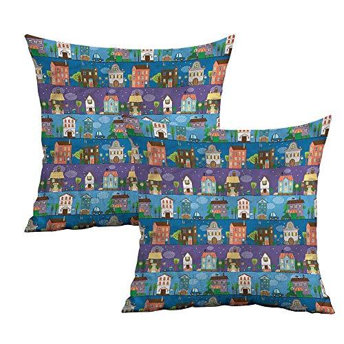 Khaki home Urban Square Custom Pillowcase Hand Drawn Townhouses Square Travel Pillowcase Cushion Cases Pillowcases for Sofa Bedroom Car W 24