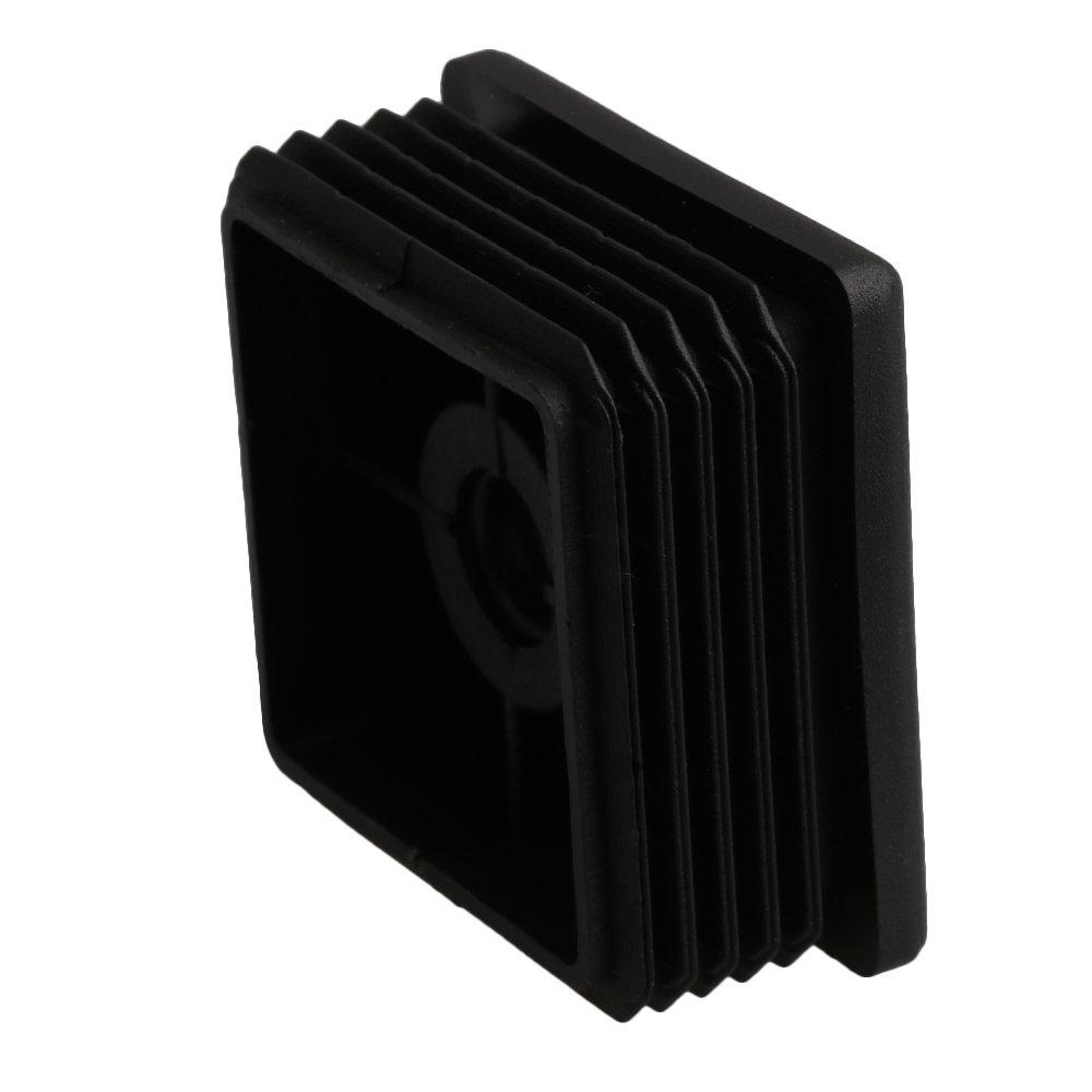 30mmx30mm M8 schwarze Kunststoff M/öbel Fu/ßstopfen Stanzen Endkappen Einsatzstopfen Mit Mutter f/ür Vierkantrohr Packung von 20 st/ück