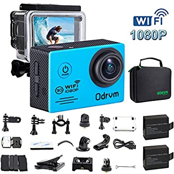 WIFI Action Camera Waterproof HD 1080P 12 MP 170 Degree Angle Underwater Camera Diving 30M With 2.0 Inch LCD And 19PCS Accessories for Kids, Scuba Diving, Snorkeling, Fishing, Sports and Drones