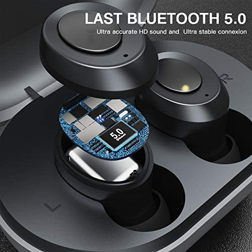 Bluetooth Earbuds, ERUN Wireless Earbuds in-Ear with Charging Case Easy-Pairing Stereo Calls/Built-in Mic 18H Playtime (Black)