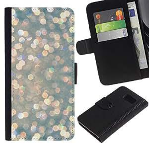 Billetera de Cuero Caso Titular de la tarjeta Carcasa Funda para Samsung Galaxy S6 SM-G920 / Pearl Pearlescent Snow Lights / STRONG